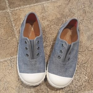 Toms girl's size 11 slip on chambray tennis shoes